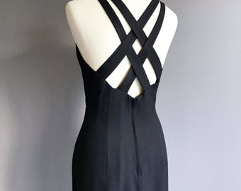 VTG  90s  Cross Strap Little Black Dress  M