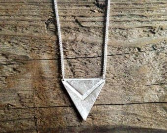 Etched silver Triangle Necklace