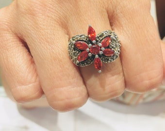 Red Vintage Style Cubic Zirconia and Marcasite .925 Sterling Silver Ring