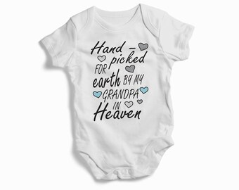 Hand Picked for Earth By My Grandpa In Heaven baby bodysuit baby clothing best gift for baby baby shower gift sweet baby outfit