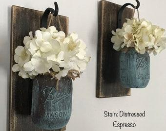 Hanging Sconce/Hanging Sconces/Mason Jar Sconces/Rustic Decor/Farmhouse Decor/Patina Paint/Mason Jar Decor/Rustic Home Decor/Hydrangea