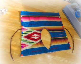 Eco Friendly Clothes For Dogs, PomPoms on Dog Poncho, Cute Dog Clothes, Repurposed Upcycled Treasures, Recycled Mexican Serape Blanket, C080