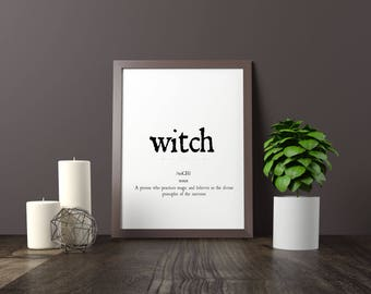 witch, dictionary, definition quote printable art decor