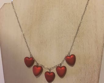 Vintage Red Heart Bead Bauble Necklace