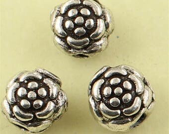 Thai Sterling Silver Rose Flower Spacer Beads (CY220)