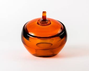 Extremely Rare Viking 7504 Orbital Sphere Apple Covered Candy Dish in Persimmon