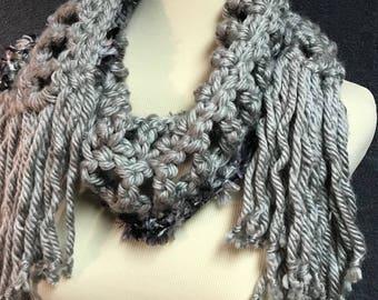 Gray Scarf Trimmed in Faux Fur Yarn
