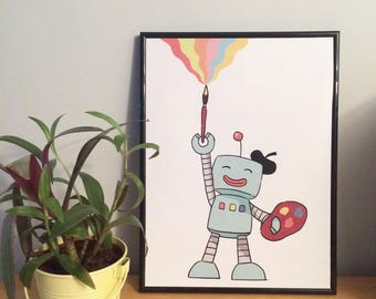 Programmed to Paint - A3 / A4 Robot Illustration Print