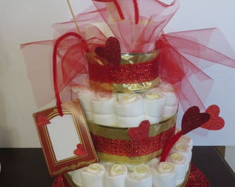 Diaper Cake Center Piecefor Baby Shower Handmade in Red Brand New