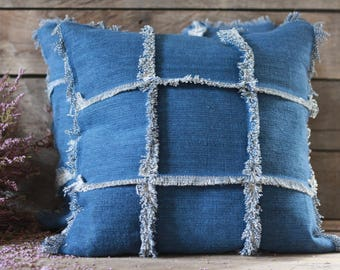 "Handmade pillow 18""x 18"" + insert. French fabric. French linens. Vintage fabric. Vintage linens. French cushion. Boho blue pillow. Tapestry"