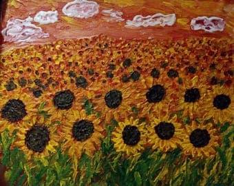 Art Original Oil Painting on Canvas Sunflowers field