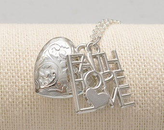 Hope, Faith, Love Necklace | Statement Necklace | 1 Corinthians 13:13 | Christian Gifts | Christian Jewelry | Bible Based Gifts