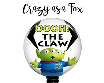 "Toy Story Alien ""Oooh the Claw""  Retractable Badge Holder, Badge Reel, Lanyard, Stethoscope ID Tag, Nurse, RN, MD, Student  Gift"