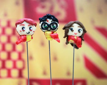 Harry potter set of 3 hijab pins / hat pins . Polymer Clay accessory . Long Straight Pins . Eid Ramadhan Gift