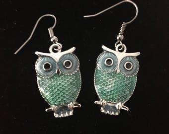 Green Owl fishhook earrings