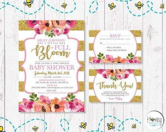 Baby shower girly invite, flowers, gold and pink sparkle, celebration, mother to be, love at first sigth.