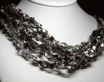 Silver Brown Lace Necklace