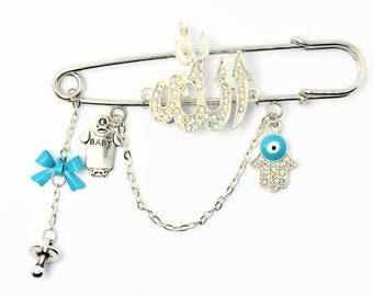 Large Silver & Blue Stroller Pin, Baby Gift, Muslim Baby Brooch Jewellery with Allah Charm by Just For Bubba
