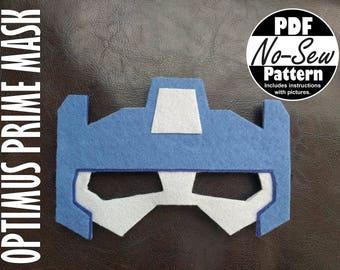 Optimus Prime Rescue Bot No-Sew Mask Pattern
