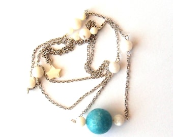 Mother of Pearl, silver necklace, amazonite