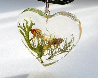Resin Heart Fish and Reef Necklace with 925 findings