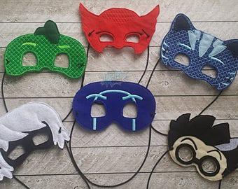 Night time Inspired Super Hero Masks, SET OF SIX, Pj, Owl, Cat, Gecko, Gekko, Red, Blue, Green, Boy, Girl, Luna, Mad Scientist, Ninja