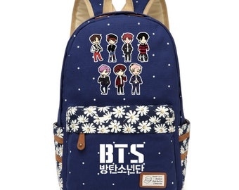 BTS Canvas bag, BTS Printing Canvas bag, Bangtan Boys, Canvas School Bags, Travel Canvas bag, Kpop Canvas bag, Flower wave point bag