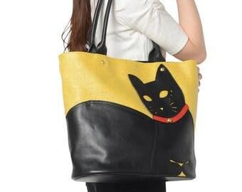 Chigracci/Cat Tote/[Neko Tote]/Kuroneko/original design/Yellow/yellow