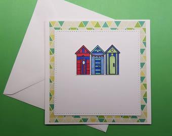 Handmade Beach Hut Card
