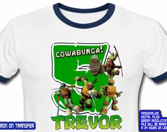 TMNT Iron On Transfer, Ninja Turtles Iron On Transfer, TMNT Birthday Shirt DIY, Boy Birthday Shirt, Ninja Turtles Shirt Diy, Digital File