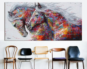 Animal wall art picture living room home decor painting canvas two galloping horse without frame