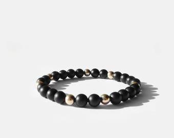 Matte Black Onyx and Gold Bead Bracelet 6mm