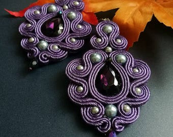 Beautiful Handmade Soutache Earrings Statement Elegant Dangle Drop Earrings Purple Crystal Silver Beads Earrings