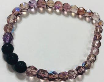Essential Oil Diffusing Lava Bead Bracelet Purple Iridescent