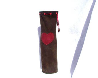 leather/suede wine bag
