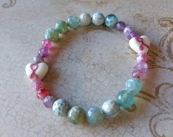 "Breast Cancer Pink Ribbon 7 1/2"" Handmade Bracelet"