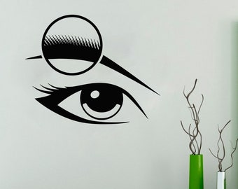 Wall Decal Window Sticker Beauty Salon Woman Face Eyelashes Lashes Eyebrows Brows t27