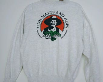 Vintage 80s 90s Fine Malts and Hops Coffee Cowboys Sweatshirts Crewneck