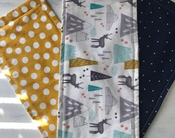 Woodland themed burp cloths handmade set Of 3