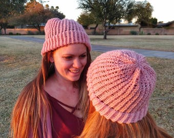 Pink Loom Knit Hat | Handmade for Teens/Adults | Hand 'n' Loom Custom Knit Hats - Beanies Crafted Using Lion Brand Yarn