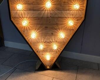 4ft Large Rustic Pallet Wooden Wedding Light Up Heart
