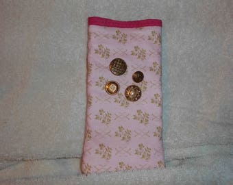 fabric cell phone bag in pink and gold color