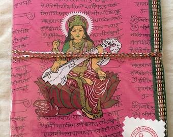 "SARASWATHI , Ancient GodDesses of ART,  8""x6"" GRATITUDE Journals,Handmade Recycled Eco Friendly Acid Free Paper Journal, Self-Reflection"
