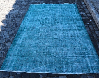 Faded Color Overdyed Rug Free Shipping 5.2 x 8.1 ft. large size overdyed rug, hall rug, pale color turkish rug, overdyed oushak rug MB295