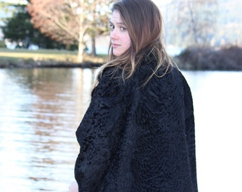 Vintage persian lamb swing coat with mink collar