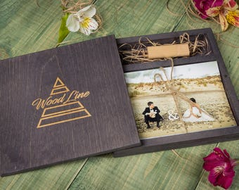 Personalised 10x15 Wooden box for photos and USB stick. Wedding gift. Keepsake Box Wood Picture Box Anniversary Gift for Couple Photo Box