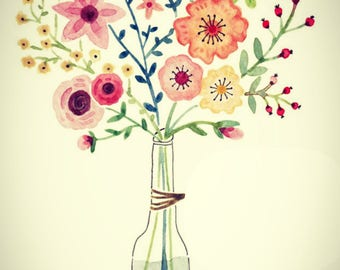 Vase watercolor with flowers/hand painted