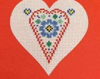 Floral heart Valentine card