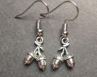 Acorn charm earrings
