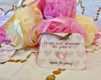 Baby shower loofah party favor